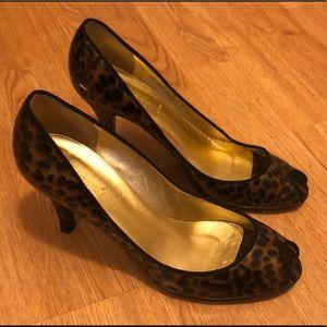 J. Crew leopard print peep toe heels